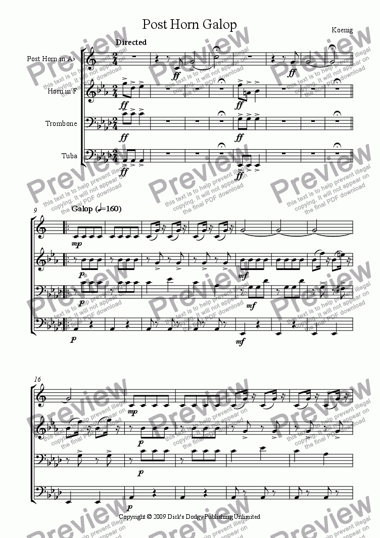 page one of Post Horn Galop