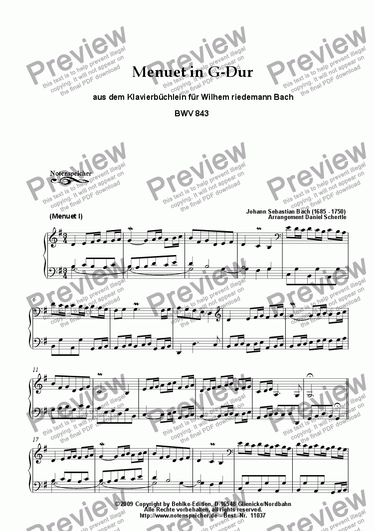 page one of Menuet G major, Klavierbuechlein W.F. Bach (BWV 843, J.S.Bach)