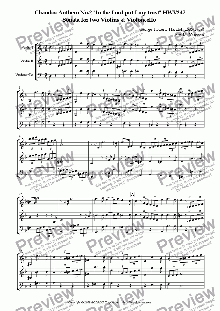 "page one of Chandos Anthem No.2 ""In the Lord put I my trust"" HWV247 Sonata for two Violins & Violoncello"
