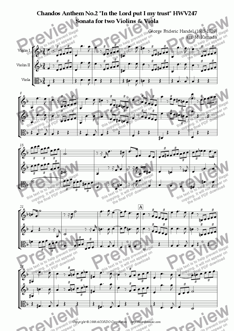 "page one of Chandos Anthem No.2 ""In the Lord put I my trust"" HWV247 Sonata for two Violins & Viola"