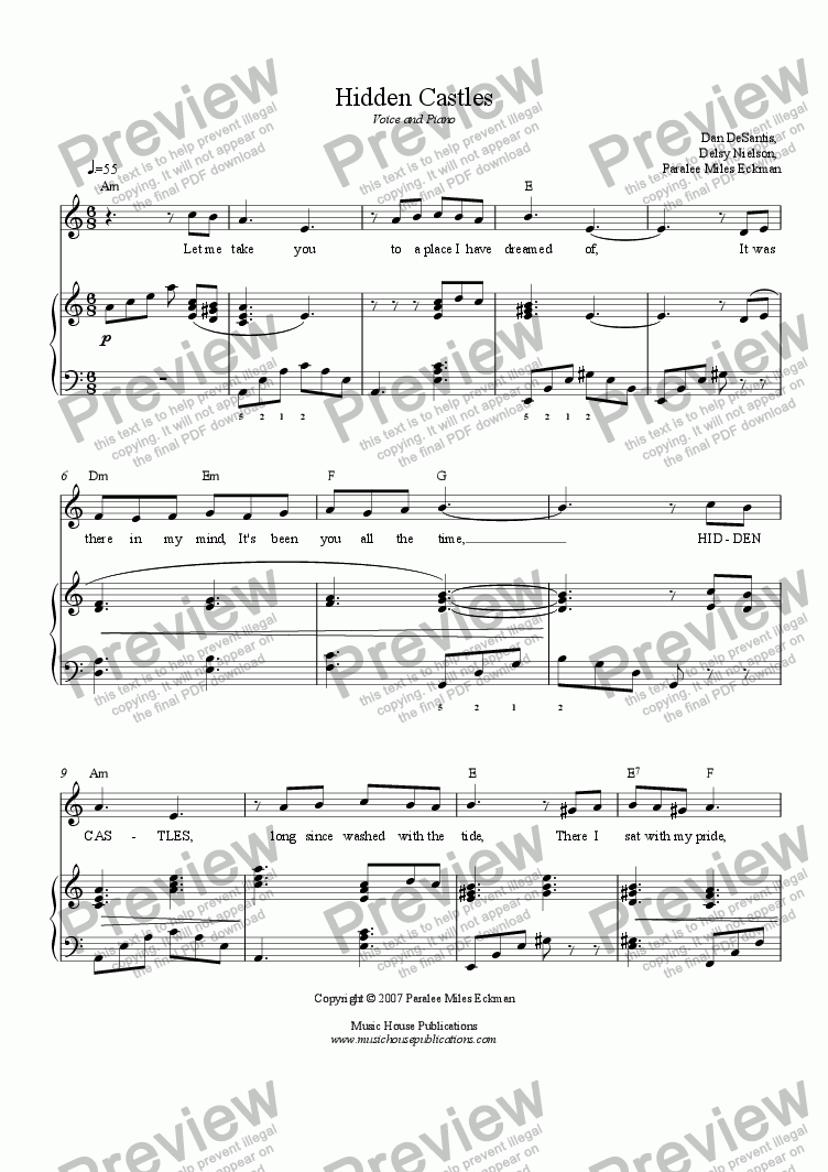 page one of Hidden Castles (Vocal/Piano)