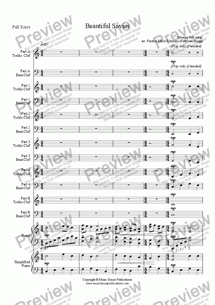 page one of Instant Ensemble:  Beautiful Savior