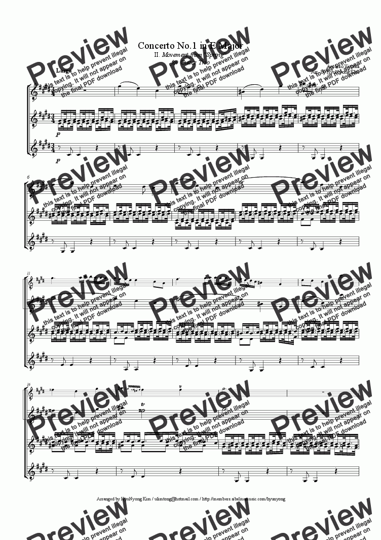 Four Seasons (2nd Mov of Spring) by A  Vivaldi for Guitar Trio for Trio of  Classical Guitars [notation] by Antonio Vivaldi - Sheet Music PDF file to