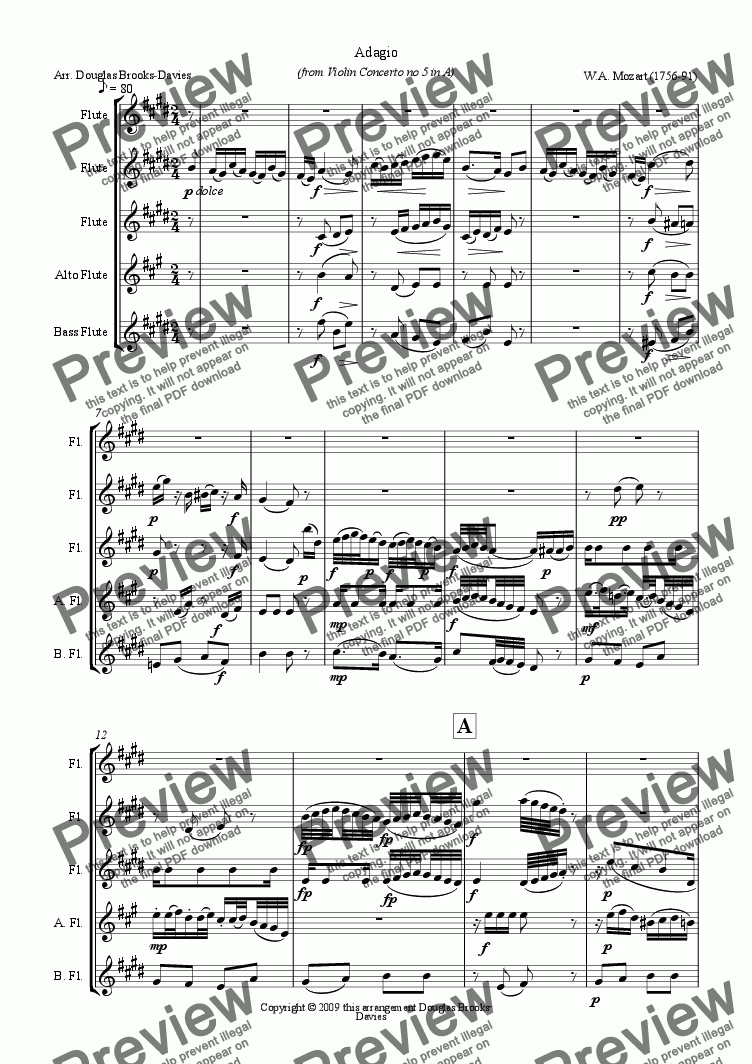 page one of Mozart, 'Flute Concerto' in A (after Violin Concerto no 5, K. 219), for flute choir (3 fl, afl bassfl), movt 2, Adagio.