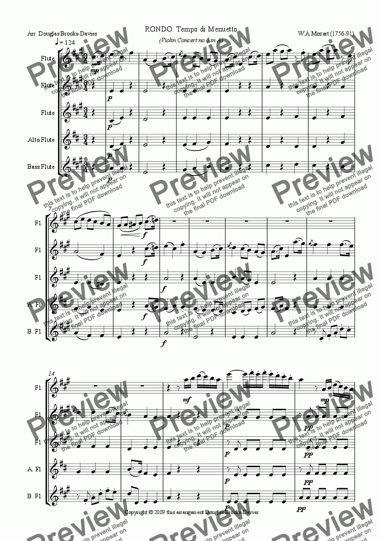 page one of Mozart, 'Flute Concerto' in A (after Violin Concerto no 5, K. 219) for flute choir (3fl, afl, bassfl), movt 3, Rondo.  ASALTTEXT