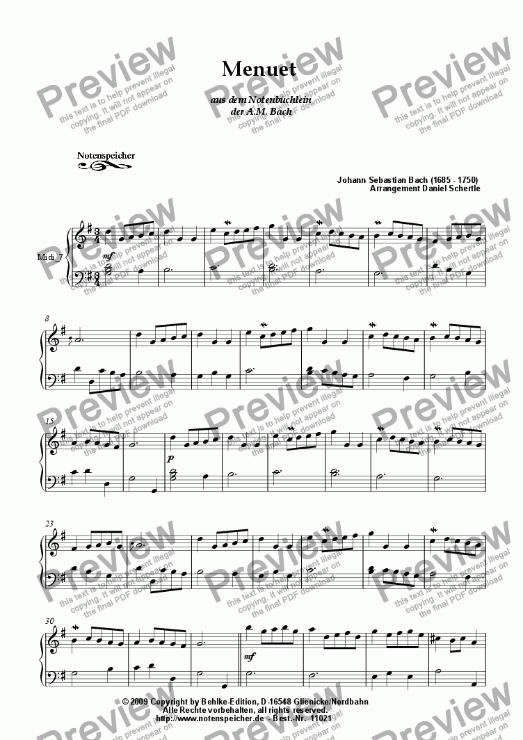 page one of Menuett in G major from the Notenbuechlein der AMB (J.S.Bach
