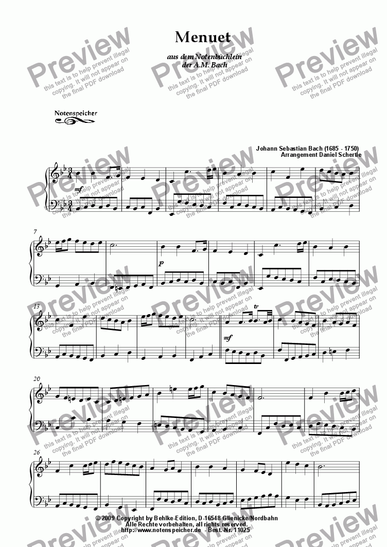 page one of Menuet in B major from the Notenbuechlein der AMB (J.S.Bach)