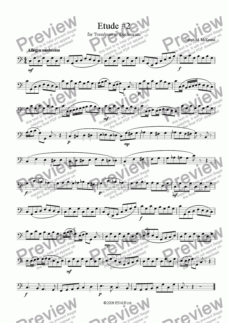 page one of Etude #2 for Trombone or Euphonium