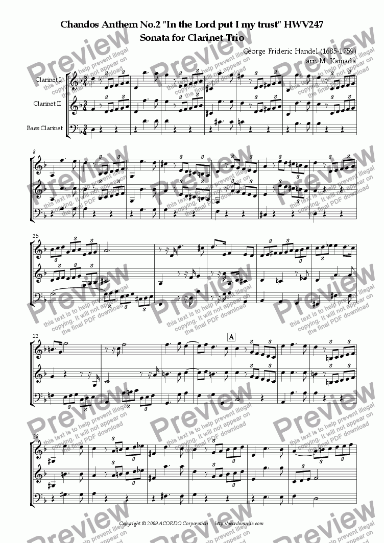"page one of Chandos Anthem No.2 ""In the Lord put I my trust"" HWV247 Sonata for Clarinet Trio"