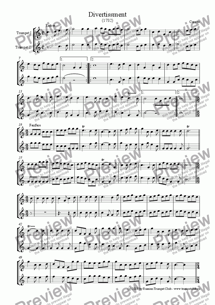 page one of Divertissment for 2 trumpets