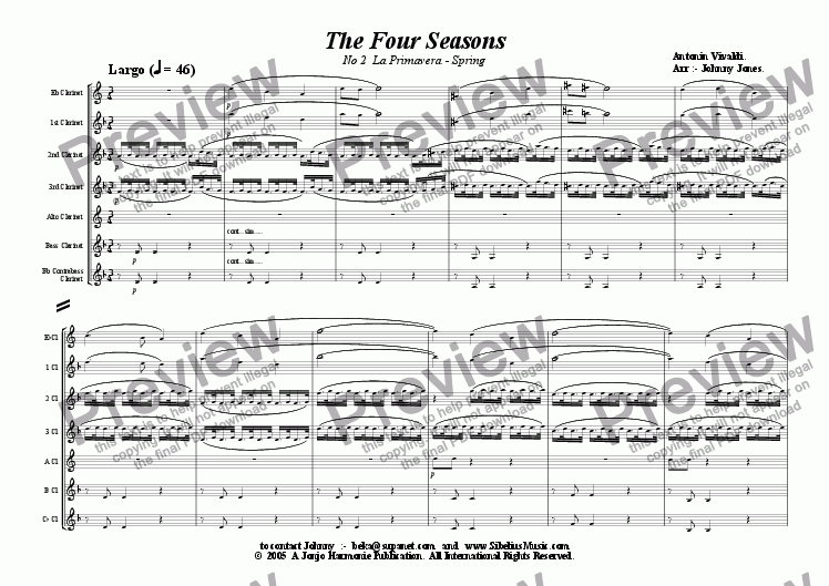 "page one of 4 Seasons The,  2nd Movt.. Largo ""Spring""  (Clarinet Choir)"