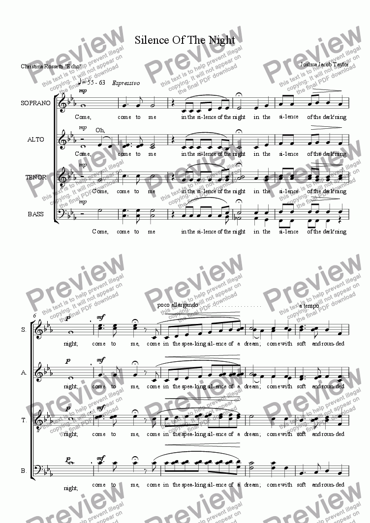 page one of Silence Of The Night  (SATB with divisi)