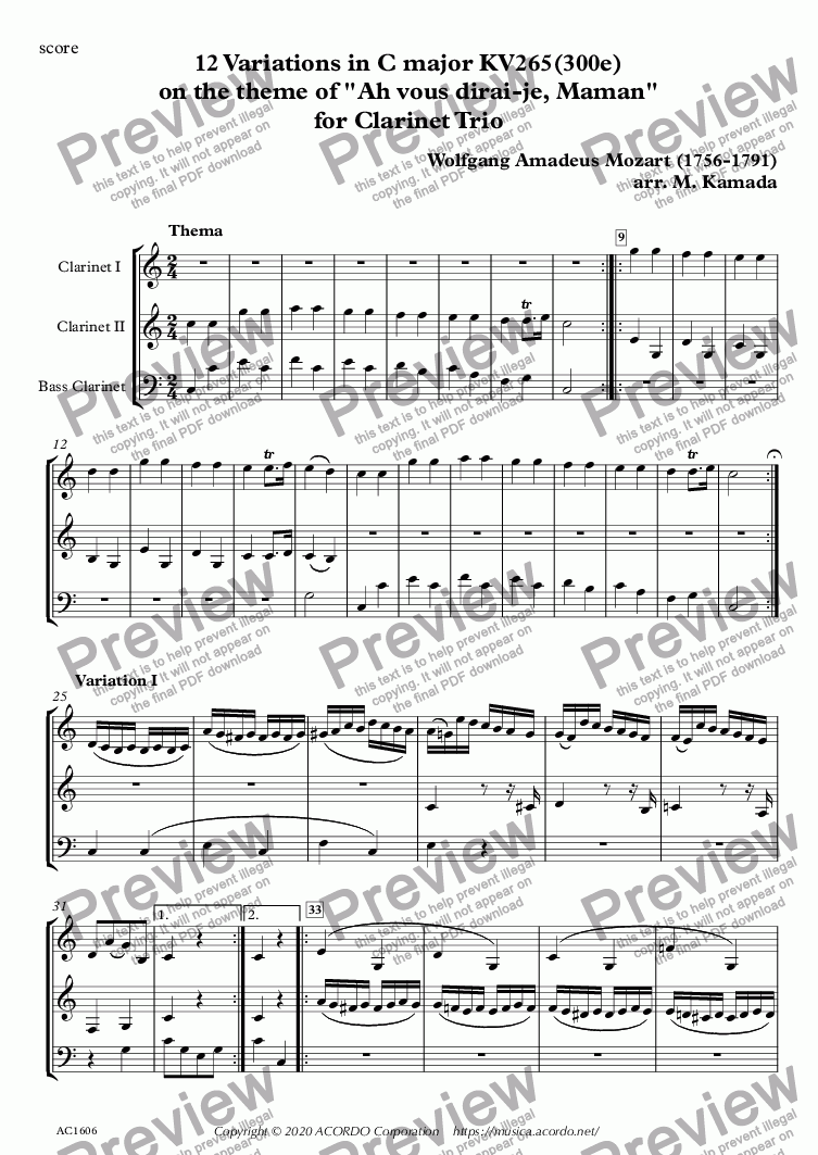 "page one of 12 Variations in C major KV265(300e) on the theme of ""Ah vous dirai-je, Maman"" for Clarinet Trio"
