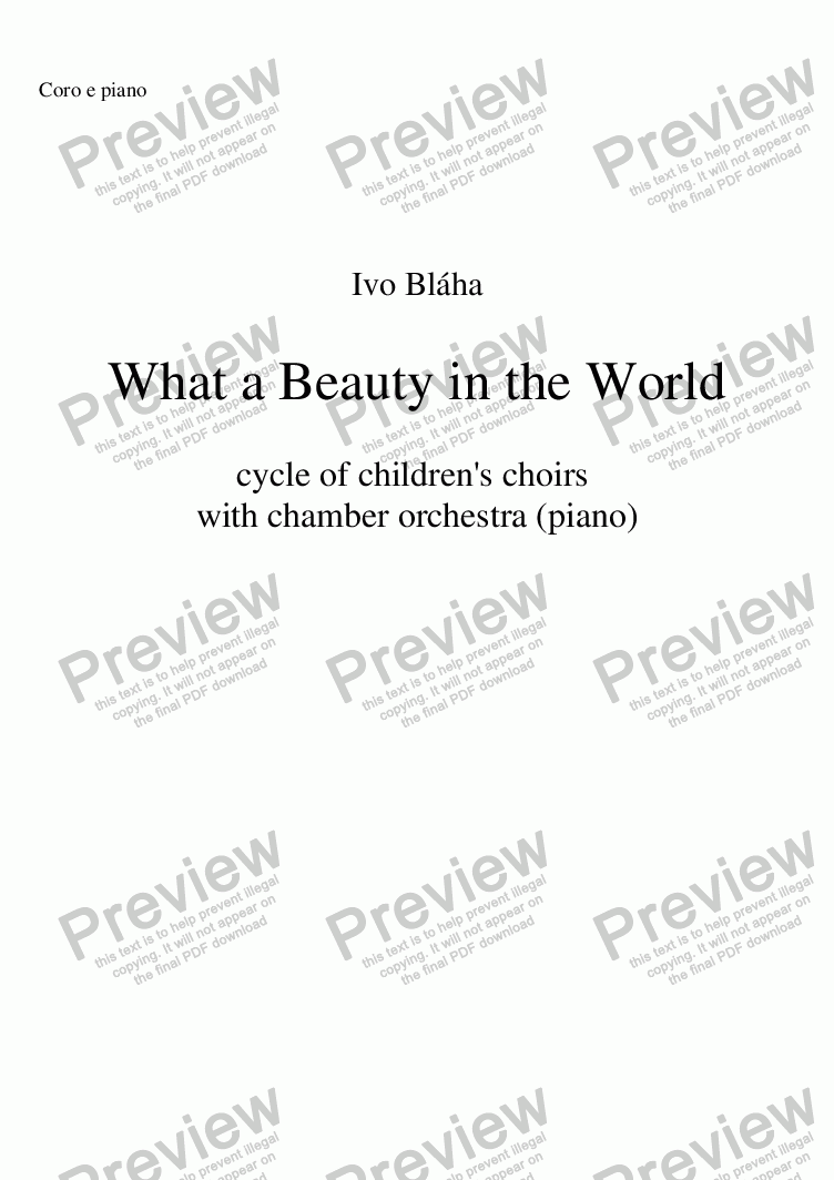 page one of WHAT A BEAUTY IN THE WORLD for children's choir with piano (English words)