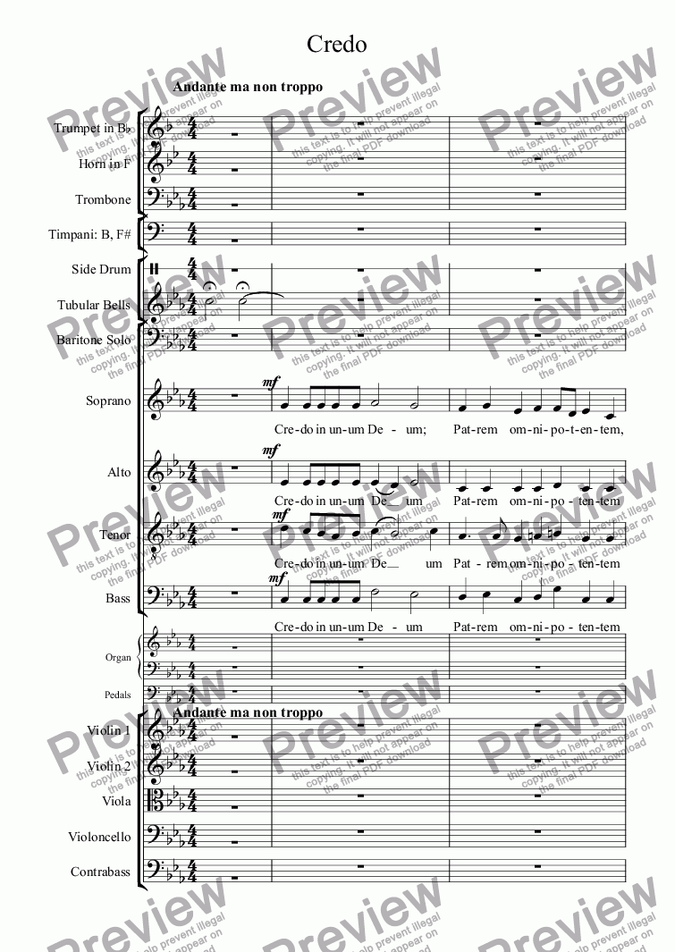 page one of Missa Solemnis - Credo