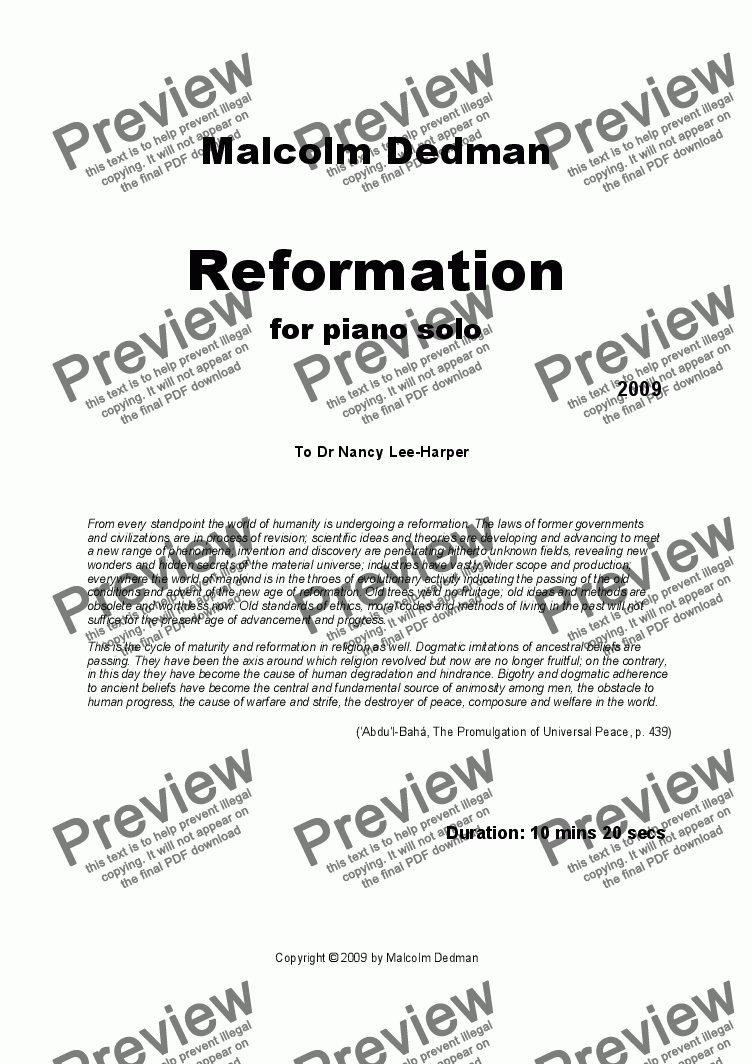 page one of Reformation