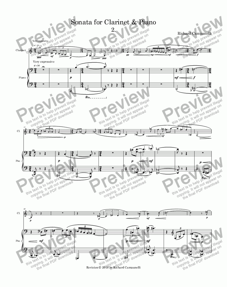 page one of Sonata for Clarinet & Piano 2cd mvmnt.ASALTTEXT
