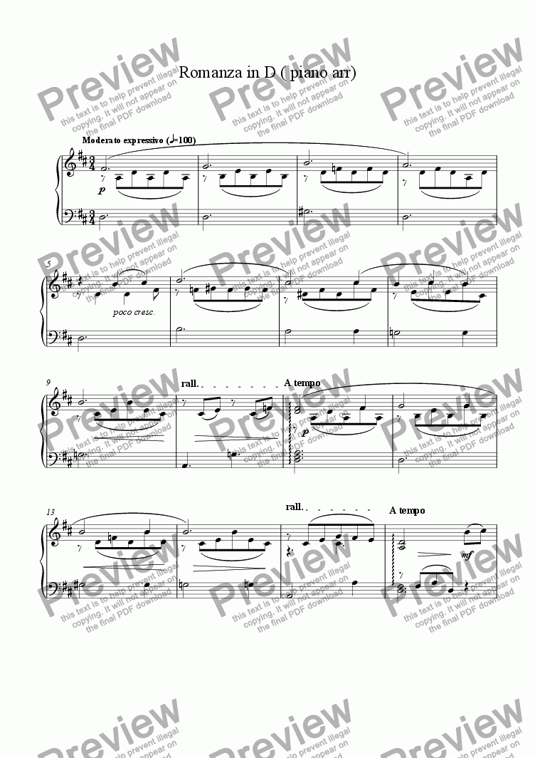 page one of Romanza in D piano arr.