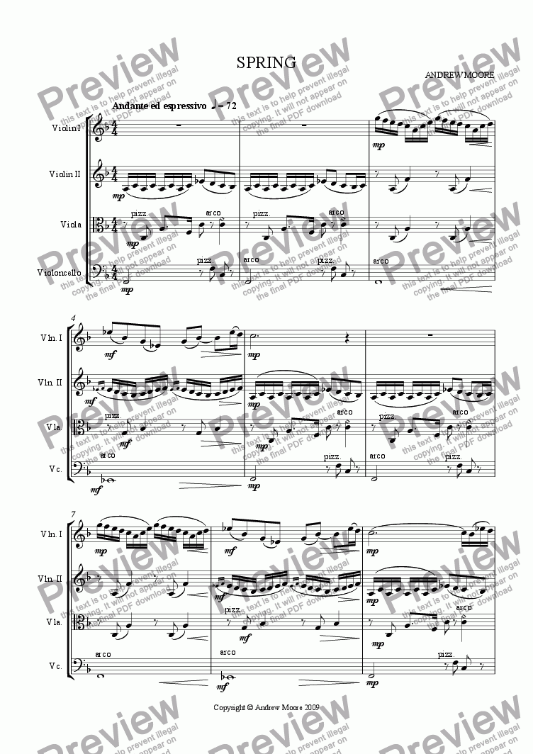 page one of 'Spring' for String Quartet