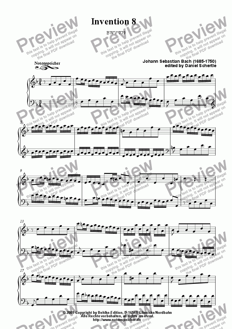 page one of Inventio Nr. 8, BWV 779 (J.S. Bach)