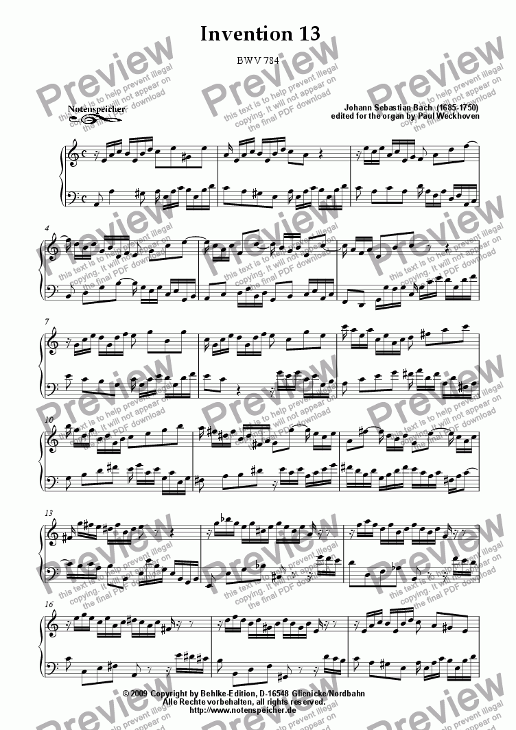 page one of Inventio Nr. 13, BWV 784 (J.S. Bach)