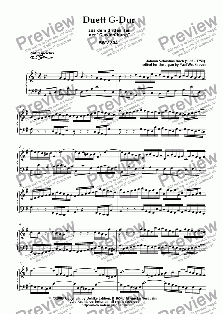 page one of Duett in G major, BWV 804 (for organ by J.S. Bach)