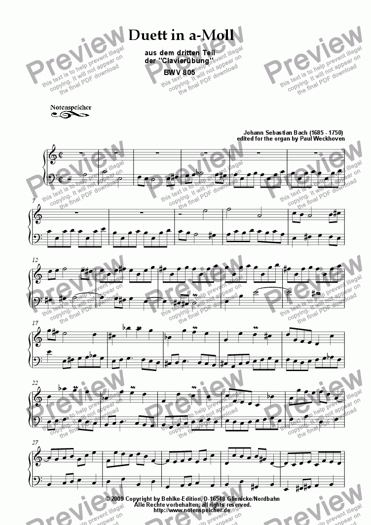 page one of Duett in a minor, BWV 805 (for organ by J.S. Bach)