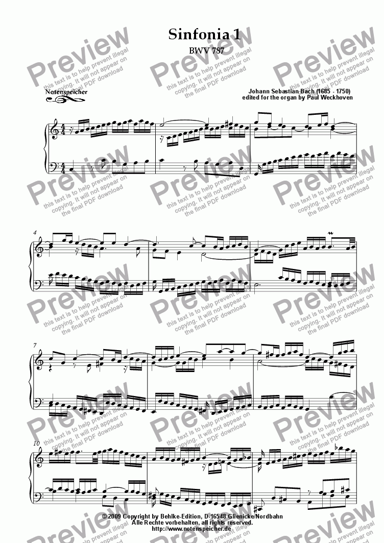 page one of Sinfonia Nr.1, BWV 787 (J.S.Bach)