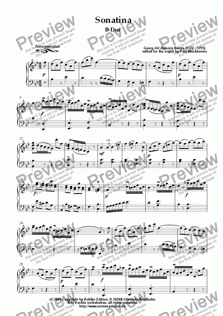 page one of Sonatina in B major (G.J.A. Benda)