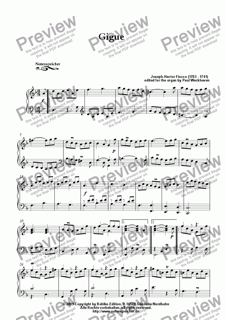 page one of Gigue in D minor (J.-H. Fiocco)