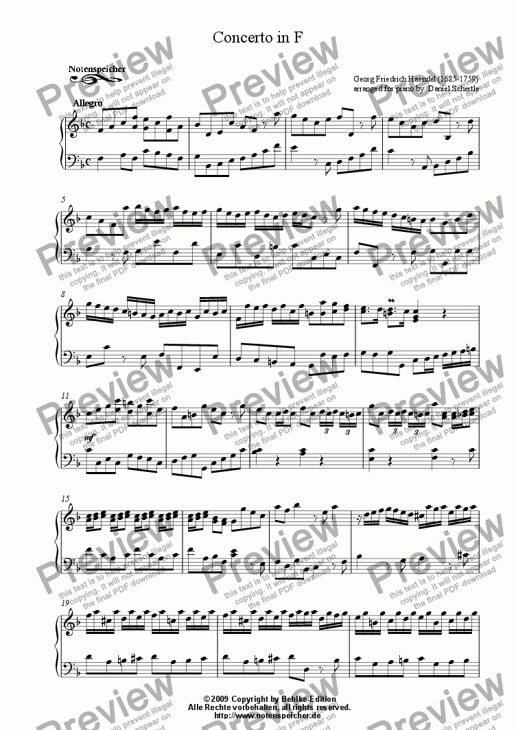 page one of Concerto in F major (for piano by G.F.Haendel)