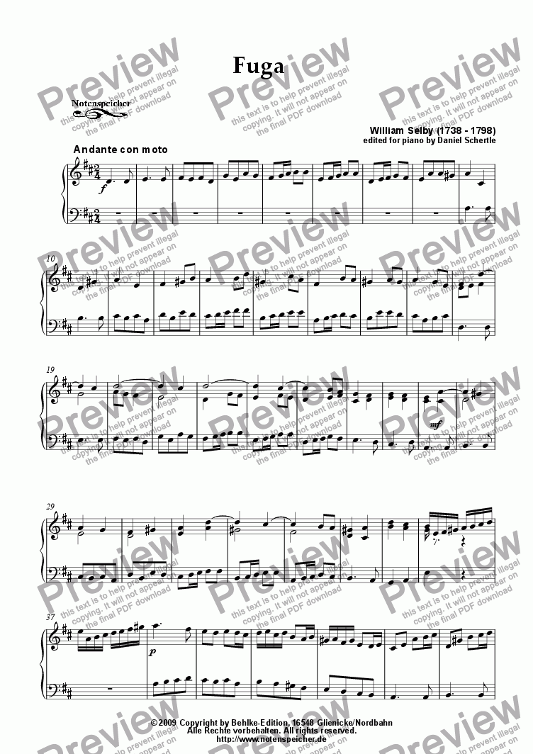 page one of Fuga in D major (for piano by W. Selby)