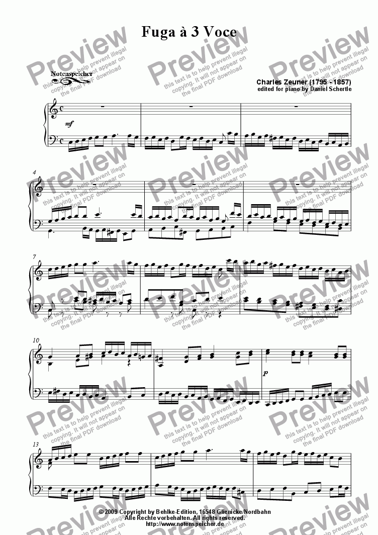 page one of Fuga in C major (for piano by Ch. Zeuner)