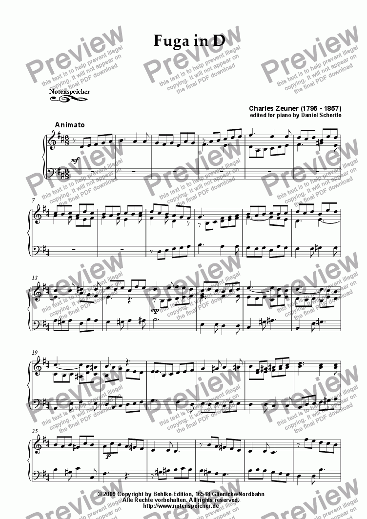page one of Fuga in D major (for piano by Ch. Zeuner)