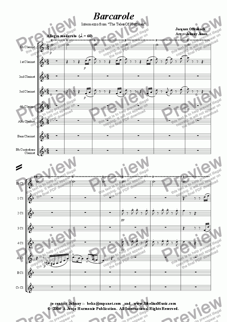"page one of Barcarole  from ""Tales of Hoffman""   (Clarinet Choir)"