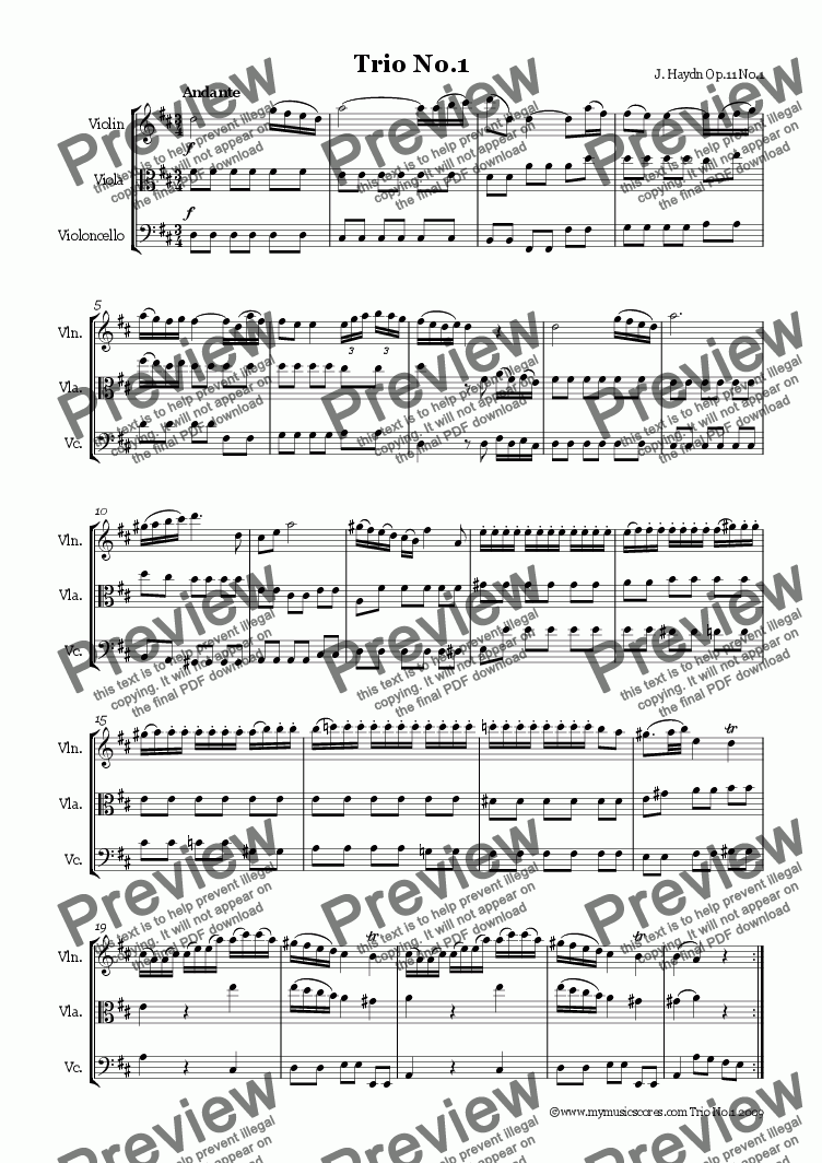 page one of Haydn String Trio Op.11 No.1