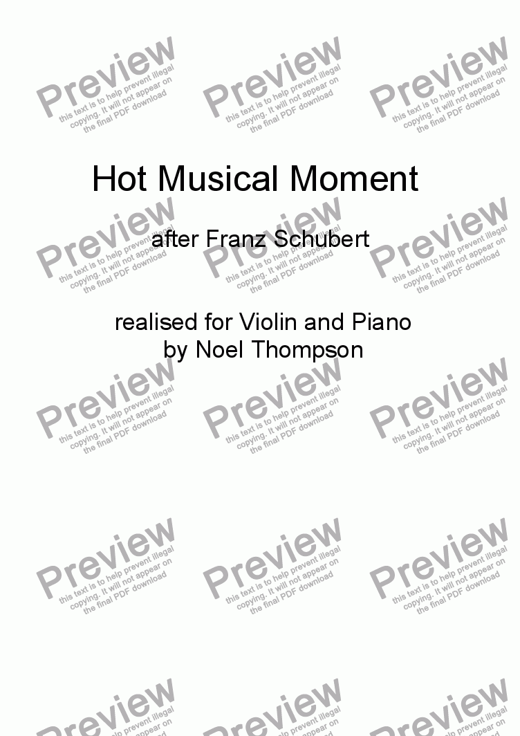 page one of Hot Schubert Musical Moment ; realised for violin and piano -edited
