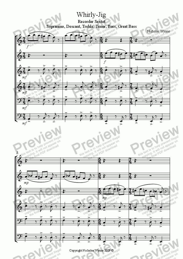 page one of Whirly-Jig for Recorder Sextet