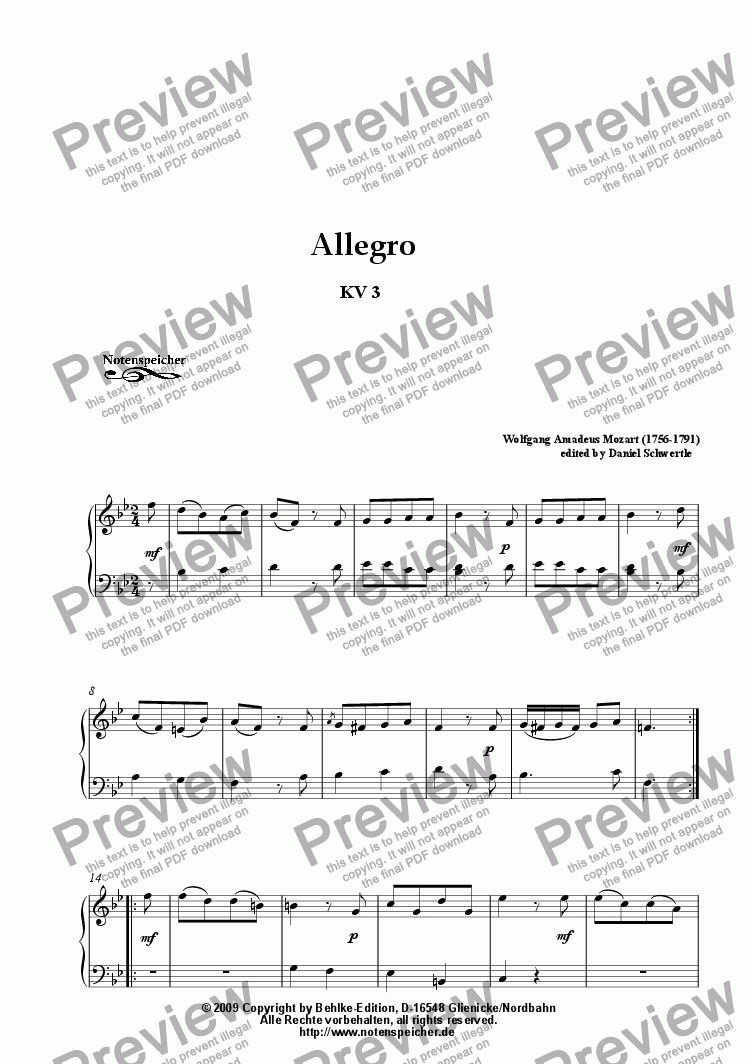 page one of Allegro in B major for piano KV 3 (W.A.Mozart)