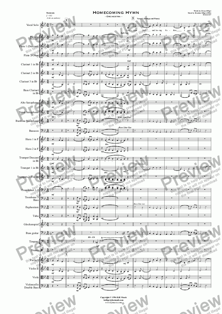 page one of Homecoming Hymn - Orchestra with Solo Voice