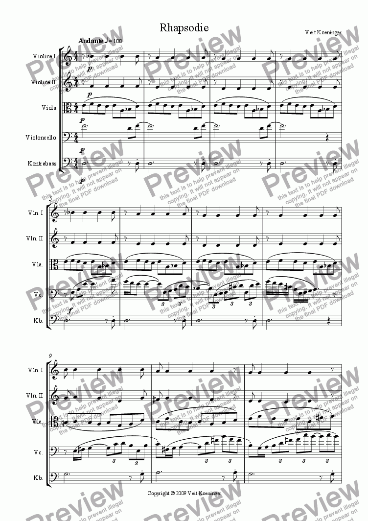 page one of Rhapsody for string orchestra