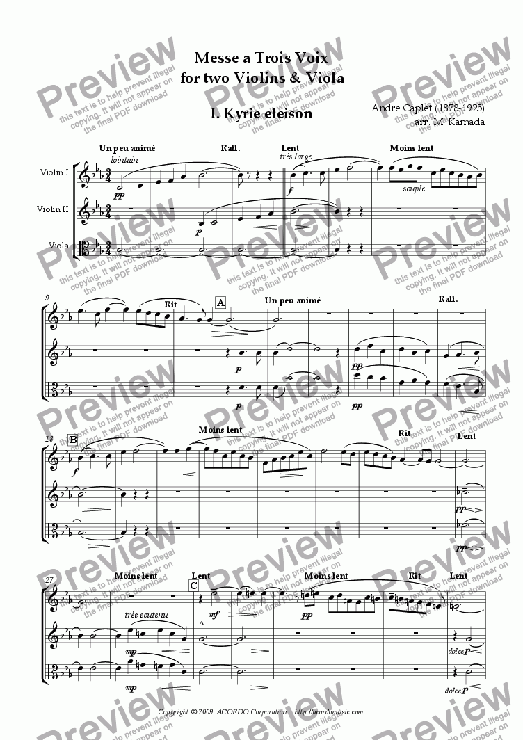 page one of Messe a Trois Voix for two Violins & Viola