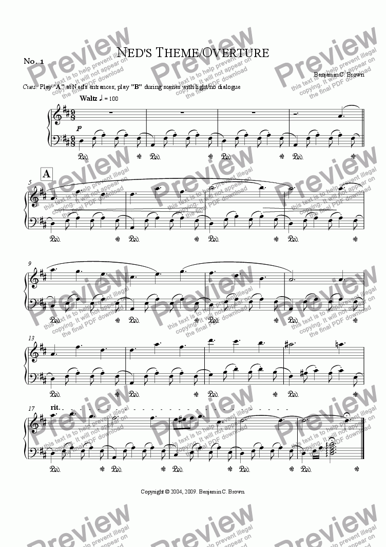 page one of Incidental Music for Deadwood Dick or the Game of Gold: No. 1: Ned's Theme/Overture