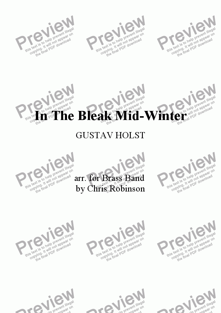 page one of In The Bleak Mid-Winter