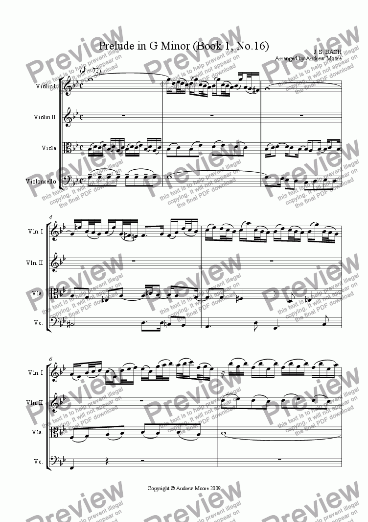 Prelude in G minor (Book 1, No  16) arr  for String Quartet for String  quartet by J  S  Bach - Sheet Music PDF file to download