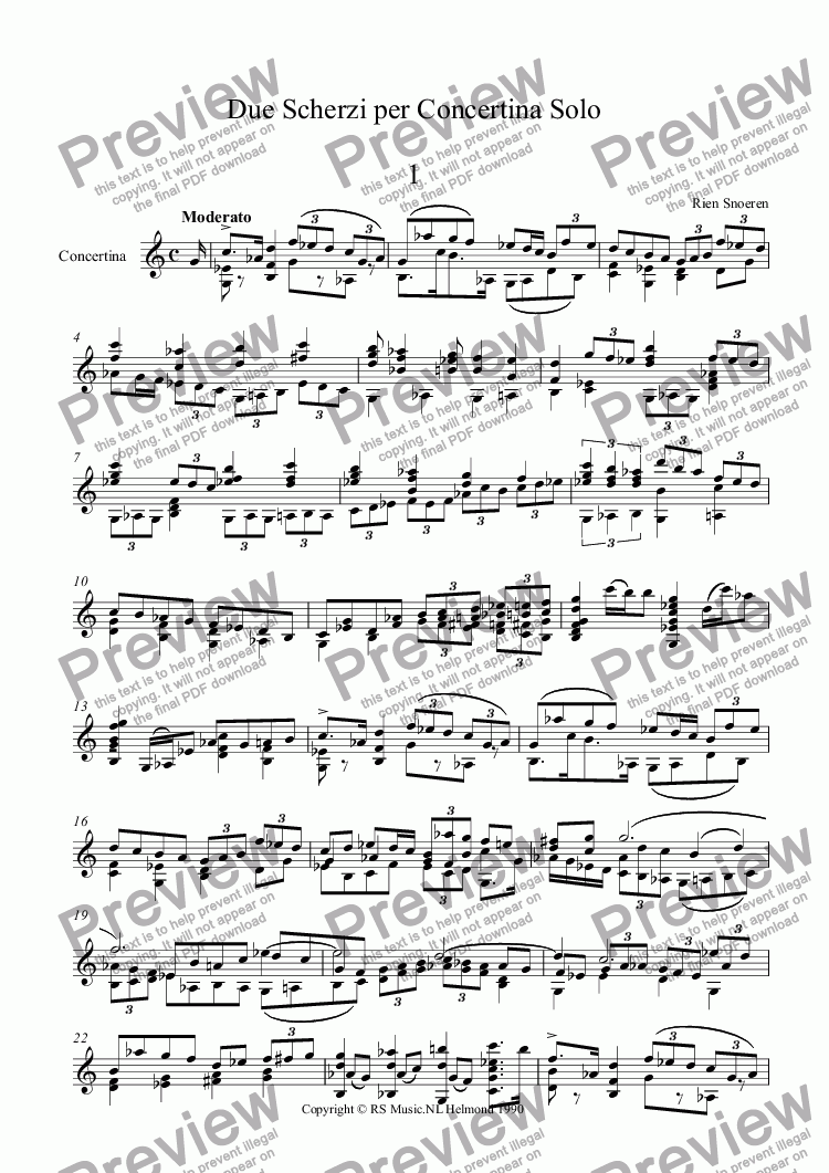 page one of Due Scherzi per Concertina Solo