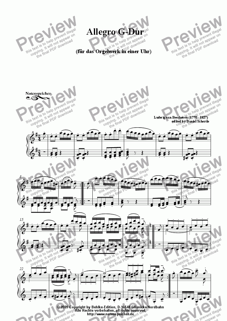 page one of Allegro G major for a small organ in a big clock (L.v.Beethoven)