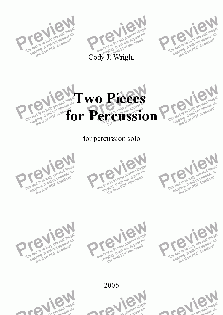 page one of Two Pieces for Percussion (percussion solo)