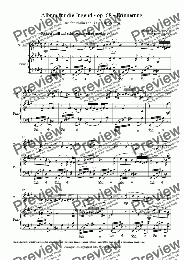 page one of Album für die Jugend - op. 68 - Erinnerung  -  arr. for Violin and Piano - III version