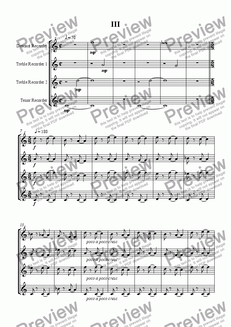 page one of Recorder Quartet 3